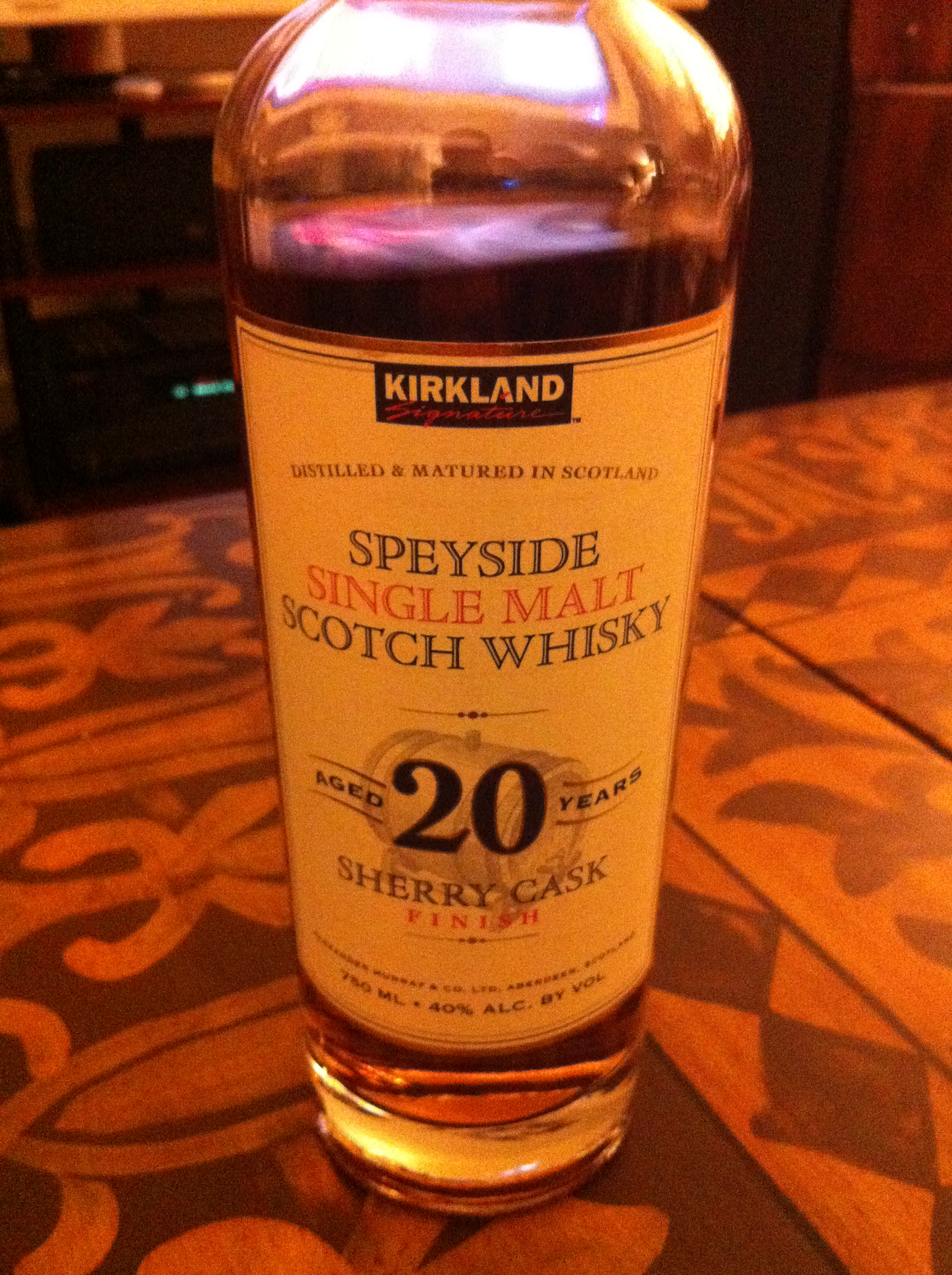 Kirkland Speyside Single Malt Scotch Whisky 20 Years Old Sherry Cask Finish