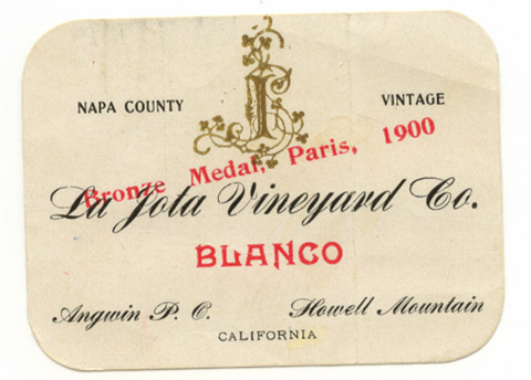 La Jota's 1900 vintage label.