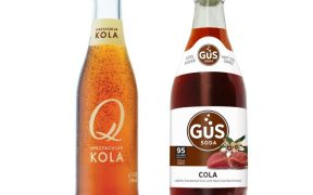 Bottles of Q Kola and GuS Cola.